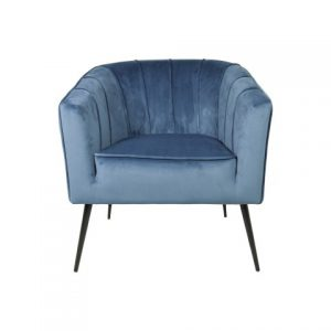 Fauteuil Chester – Velours – Staalblauw
