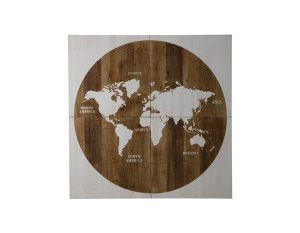 "Wooden ""Map Of The World"" 160x160x4cm – Multi"